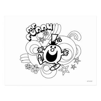Mr. Funny | Black & White Swirls & Stars Postcard