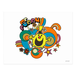 Mr. Funny | Colorful Stars & Swirls Postcard
