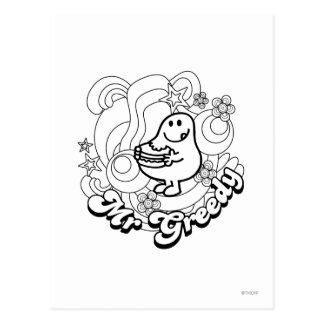 Mr. Greedy | Black & White Swirls & Stars Postcard