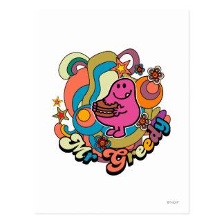 Mr. Greedy | Colorful Swirls & Stars Postcard