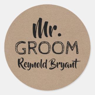 Mr. Groom Bold Typography Classic Round Sticker