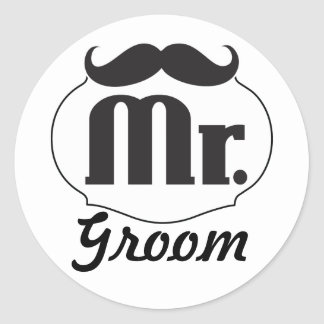 Mr. Groom Mustache Round Sticker