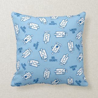 Mr Grumpy | Blue Emotion Toss Pattern Throw Pillow
