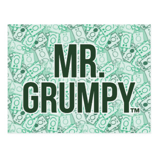 Mr Grumpy | Green Name and Character Toss Pattern Postcard