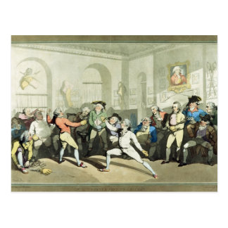 Mr H Angelo's Fencing Academy, engraved by Charles Postcard