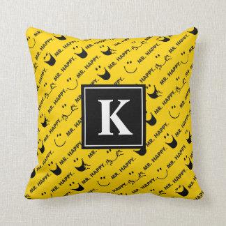Mr Happy | All Smiles Pattern | Monogram Throw Pillow