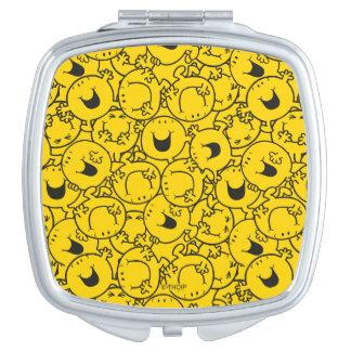 Mr  Happy | Batch of Yellow Smiles Pattern Travel Mirror
