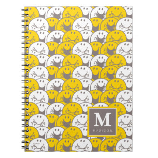 Mr Happy | Flashing Smiles Pattern | Add Your Name Spiral Notebook