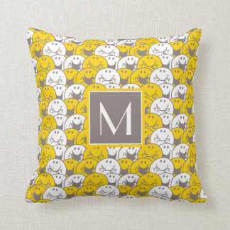 Mr Happy | Flashing Smiles Pattern | Monogram Throw Pillow