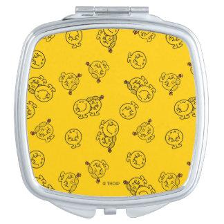 Mr Happy & Little Miss Sunshine | Yellow Pattern Compact Mirror