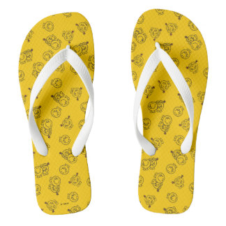 Mr Happy & Little Miss Sunshine | Yellow Pattern Flip Flops