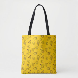 Mr Happy & Little Miss Sunshine | Yellow Pattern Tote Bag
