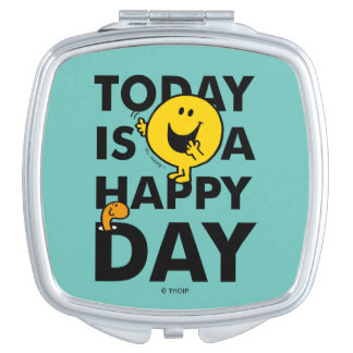 Mr. Happy | Today is a Happy Day Compact Mirror