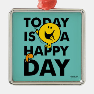Mr. Happy | Today is a Happy Day Silver-Colored Square Ornament