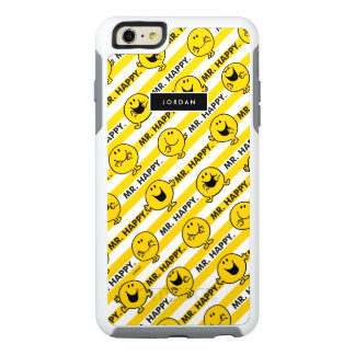 Mr Happy | Yellow Stripes Pattern | Add Your Name OtterBox iPhone 6/6s Plus Case