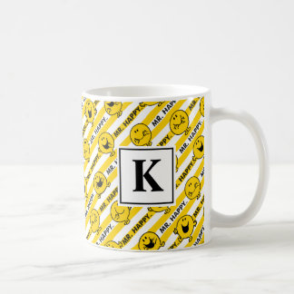 Mr Happy | Yellow Stripes Pattern | Monogram Coffee Mug
