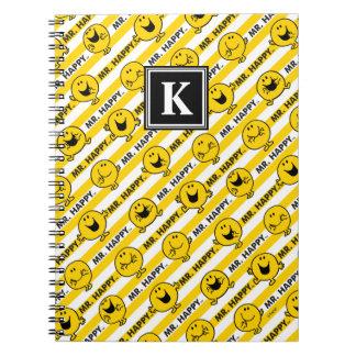 Mr Happy | Yellow Stripes Pattern | Monogram Notebook