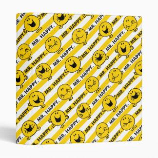 Mr Happy | Yellow Stripes Pattern Vinyl Binder