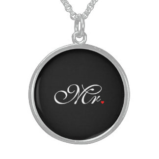 Mr. Husband Groom His Hers Newly Weds Round Pendant Necklace