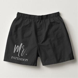 Mr. Last Name Boxers with Silver Foil Typography