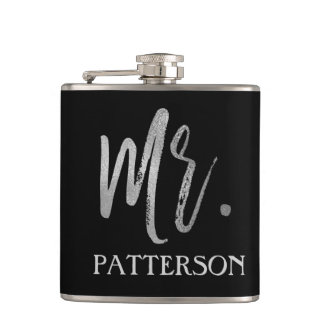 Mr. Last Name Flask with Silver Foil Typography