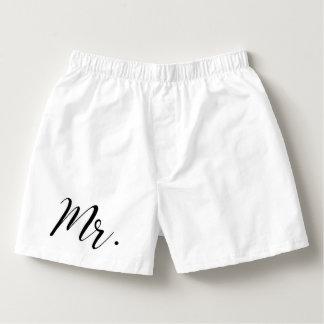 MR. Men Groom Husband White Black Boxers | Wedding
