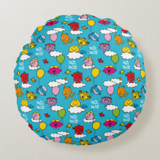 Mr Men & Little Miss | Birds & Balloons In The Sky Round Pillow
