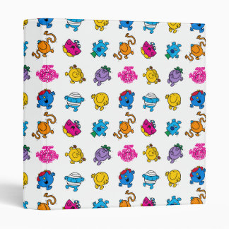 Mr Men & Little Miss | Dancing Neon Pattern 3 Ring Binder