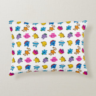 Mr Men & Little Miss | Dancing Neon Pattern Decorative Pillow