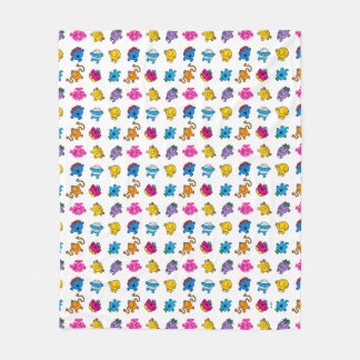 Mr Men & Little Miss | Dancing Neon Pattern Fleece Blanket