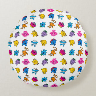 Mr Men & Little Miss | Dancing Neon Pattern Round Pillow