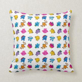 Mr Men & Little Miss   Dancing Neon Pattern Throw Pillow