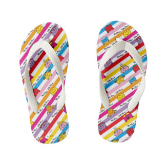 Mr Men & Little Miss | Rainbow Stripes Pattern Kid's Flip Flops