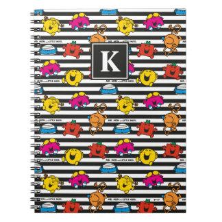 Mr Men & Little Miss   Stripes Pattern   Monogram Notebooks