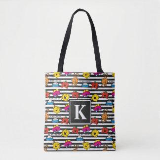 Mr Men & Little Miss   Stripes Pattern   Monogram Tote Bag