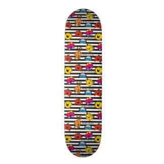 Mr Men & Little Miss | Stripes Pattern Skateboard Deck