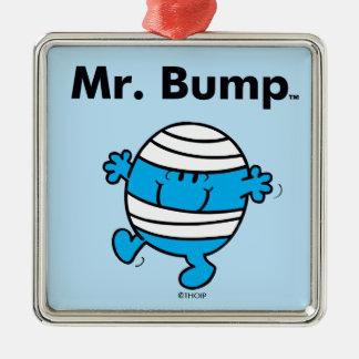 Mr. Men | Mr. Bump is a Clutz Silver-Colored Square Ornament