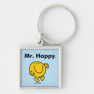Mr. Men | Mr. Happy Is Always Happy Silver-Colored Square Keychain