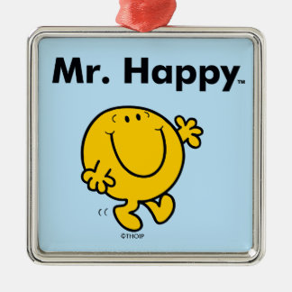 Mr. Men | Mr. Happy Is Always Happy Silver-Colored Square Ornament