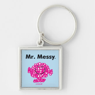 Mr. Men | Mr. Messy Is Cute, But Messy Silver-Colored Square Keychain