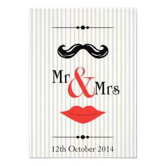"Mr Mo and Mrs Lips 5"" X 7"" Invitation Card"