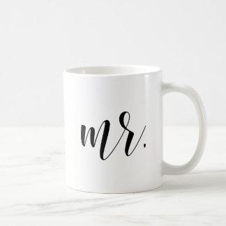 Mr. Modern Calligraphy | Black Typography Classic White Coffee Mug