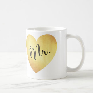 Mr. Modern Calligraphy Mug with Gold Foil Heart