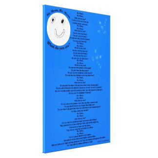 "Mr. Moon, Mr. Moon Children's Poem 40"" x 60"" Canvas Print"