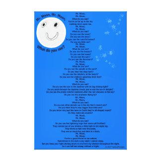"Mr. Moon, Mr. Moon Fun Children's Poem 32"" x 48"" Canvas Print"