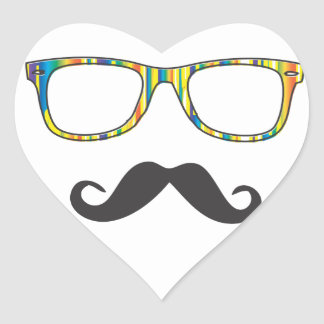 Mr Moustache Hipster Heart Sticker