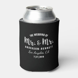 Mr. & Mr. Gay Couple Wedding Favor Custom Color Can Cooler