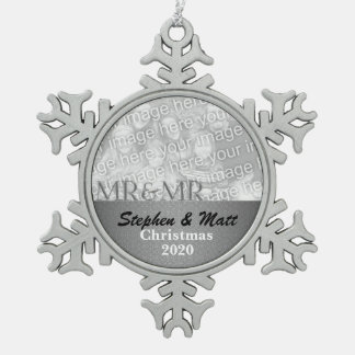 Mr. & Mr. Gay Marriage Silver Damask Snowflake Pewter Christmas Ornament