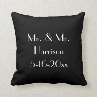 Mr. & Mr. Gay Wedding Anniversary Throw Pillow
