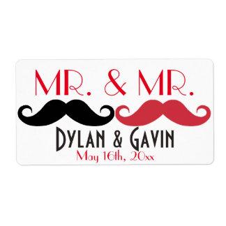 Mr. & Mr. Mustache Gay Wedding Shower Water Bottle Shipping Label